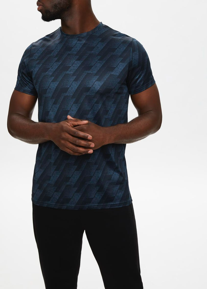 Souluxe Navy Printed Gym T-Shirt