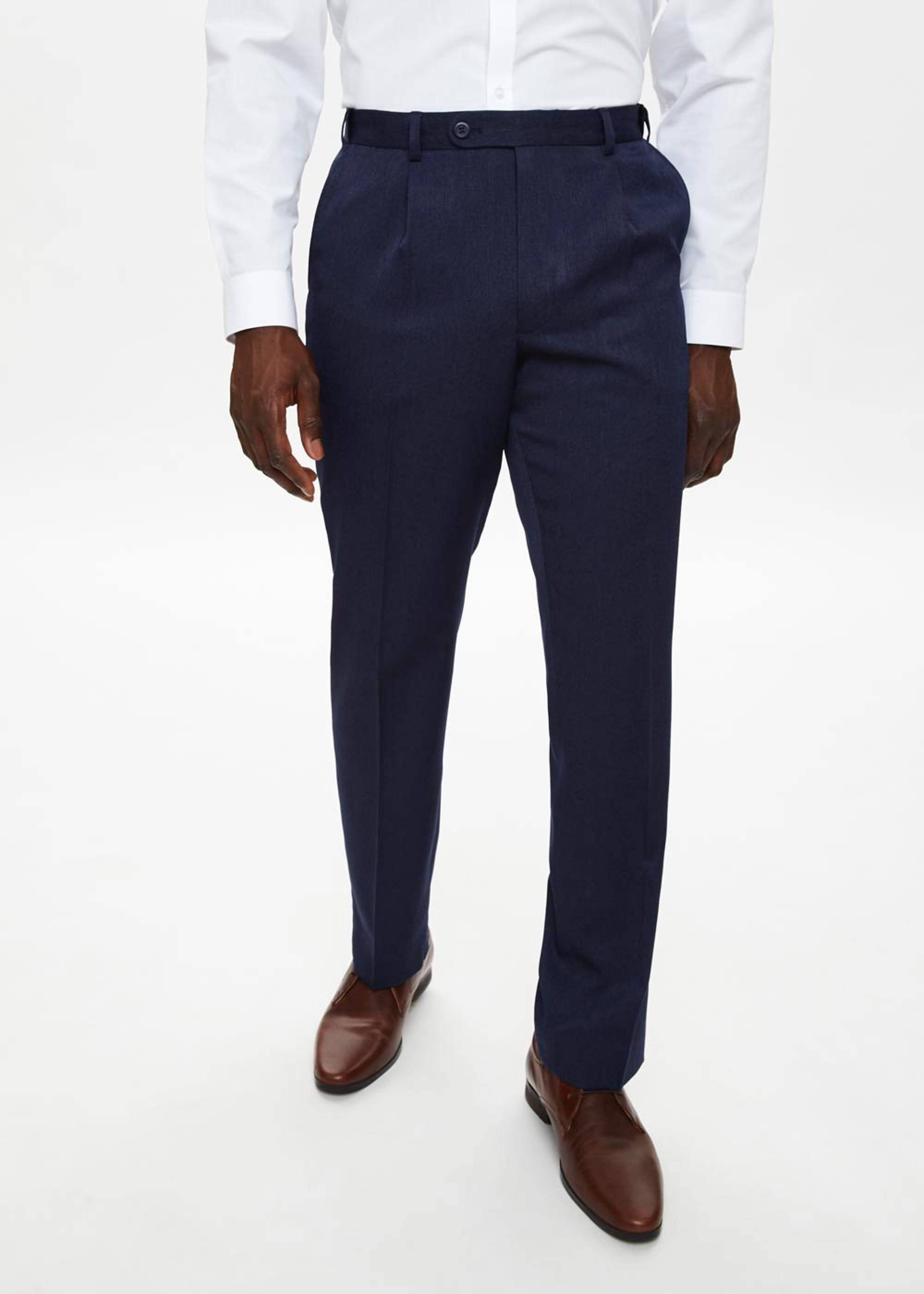 Taylor & Wright Brushed Twill Flexi Waist Trousers Navy q0Hyna