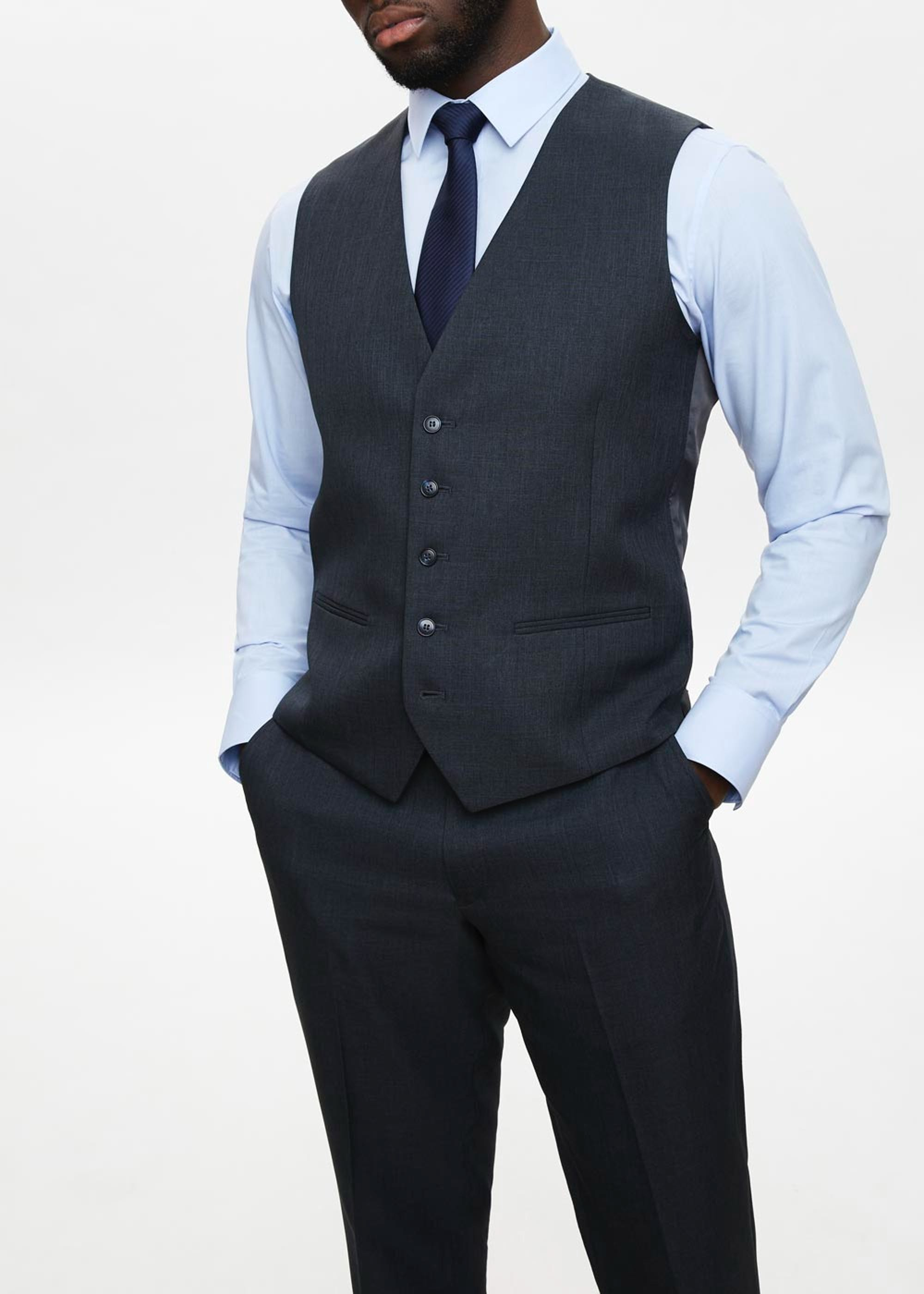 Taylor & Wright Hayes Regular Fit Suit Waistcoat Navy MIyBFT