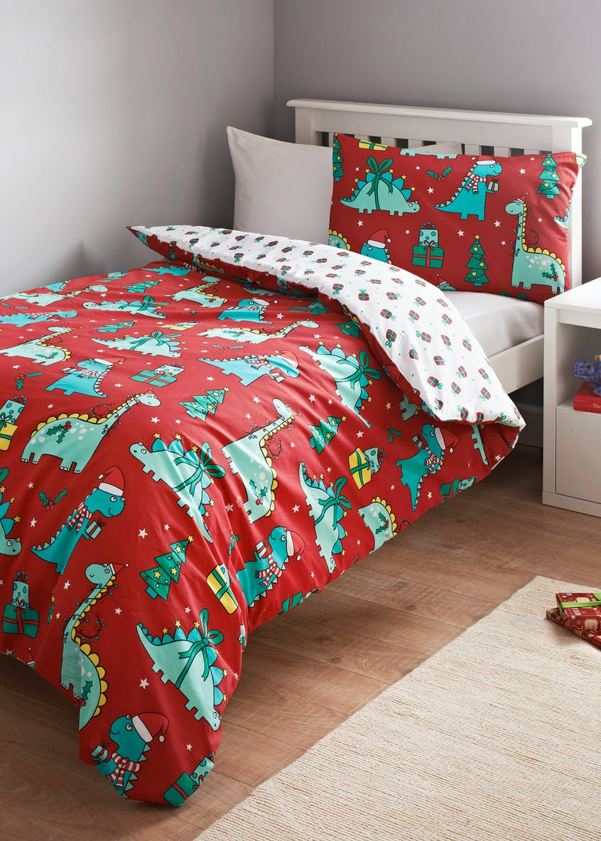Kids Dinosaur Christmas Duvet Cover (Single)