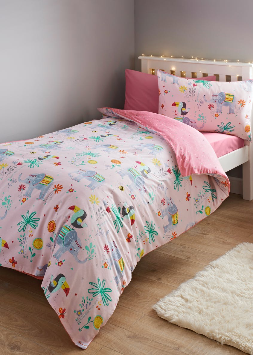 Kids 100% Cotton Toucan & Elephant Duvet Cover (Single)