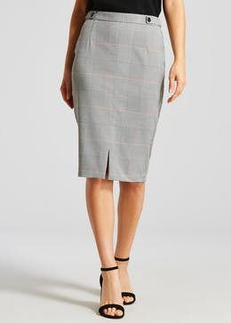 Check Pencil Suit Skirt