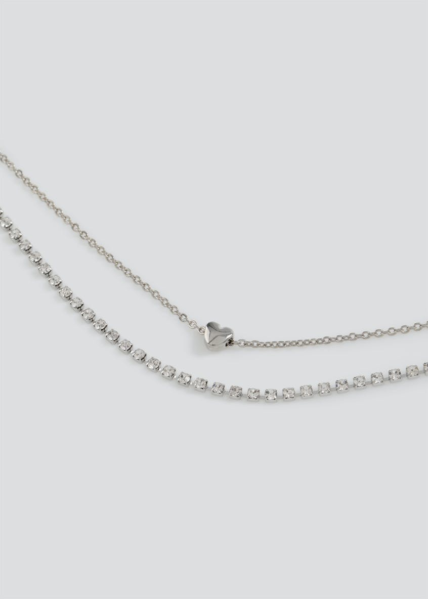 Cup chain Sparkle and Heart Charm Multirow Choker