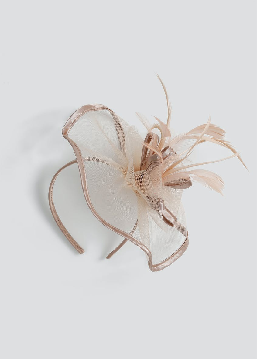 Satin Trim Feather Fascinator Headband