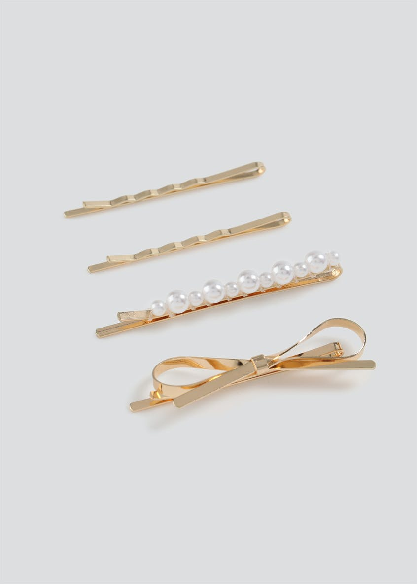 4 Pack Pearl Bow Hair Slides