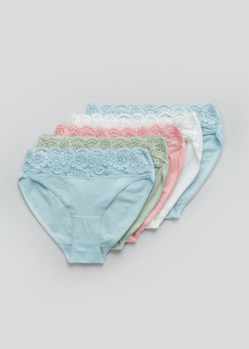 5 Pack Lace Trim High Leg Knickers