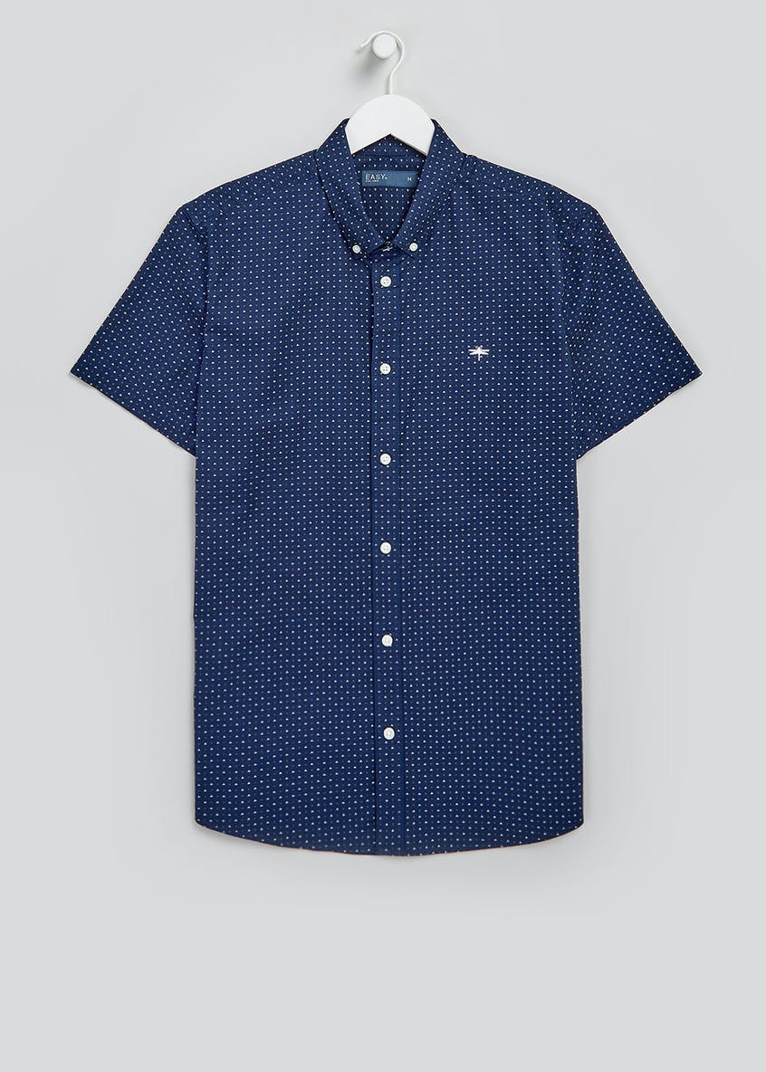 Short Sleeve Diamond Print Oxford Shirt