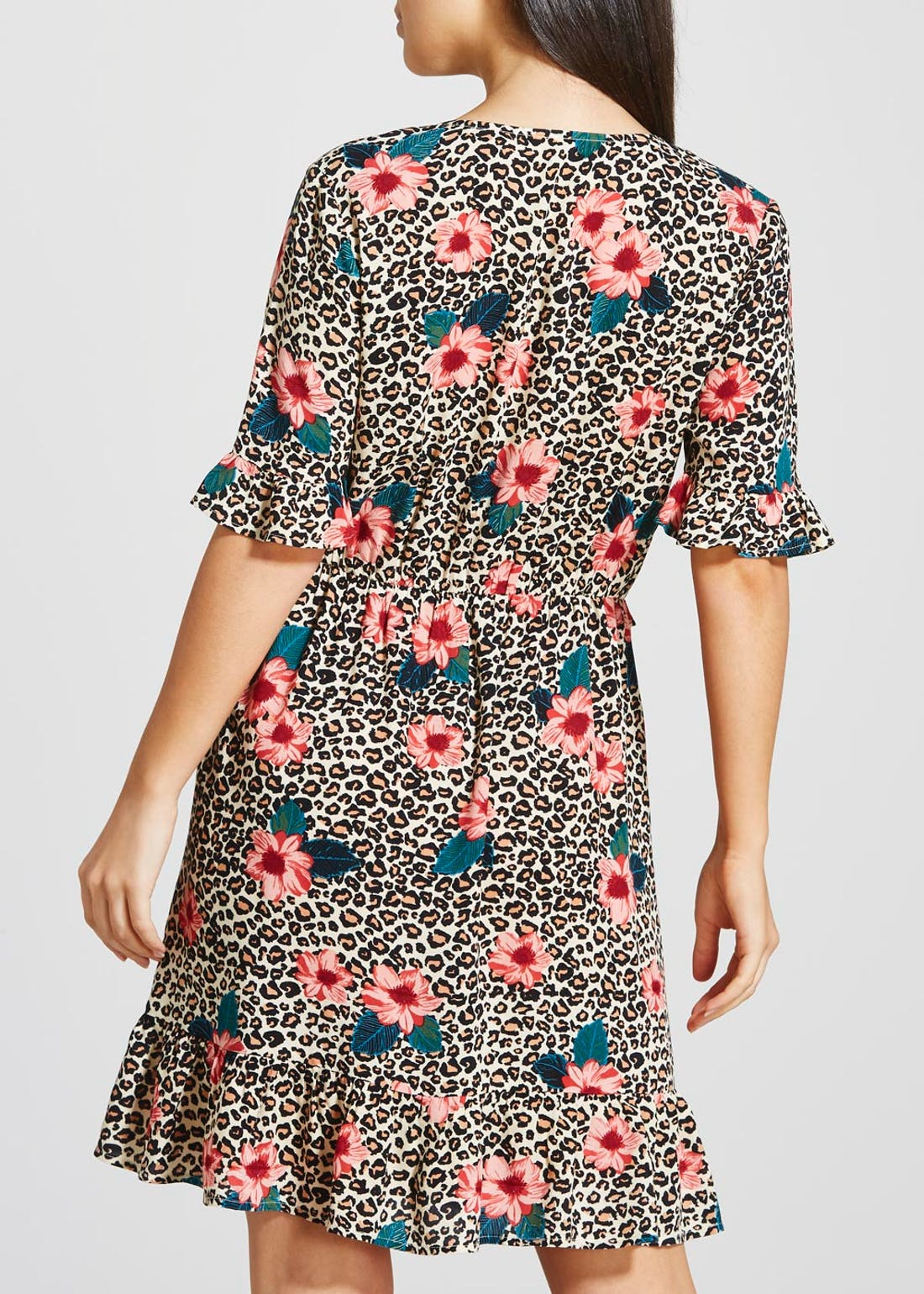 Floral Leopard Print Button Front Tea Dress