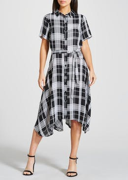 Check Hanky Hem Shirt Dress