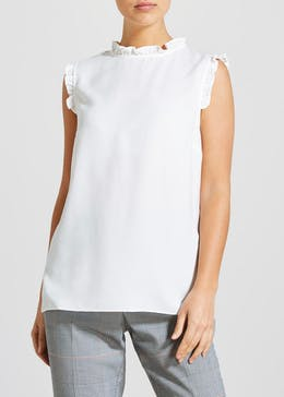 Frill High Neckline Sleeveless Blouse