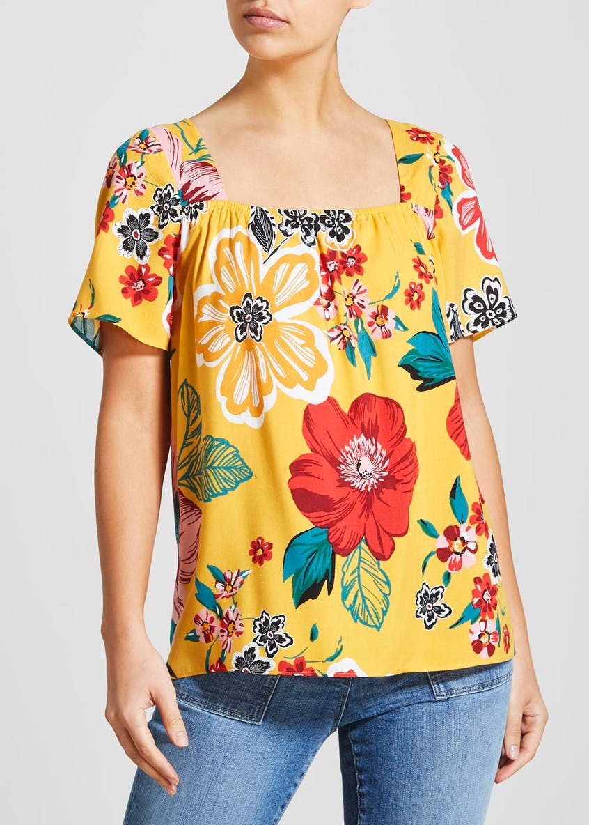 Floral Square Neck Blouse