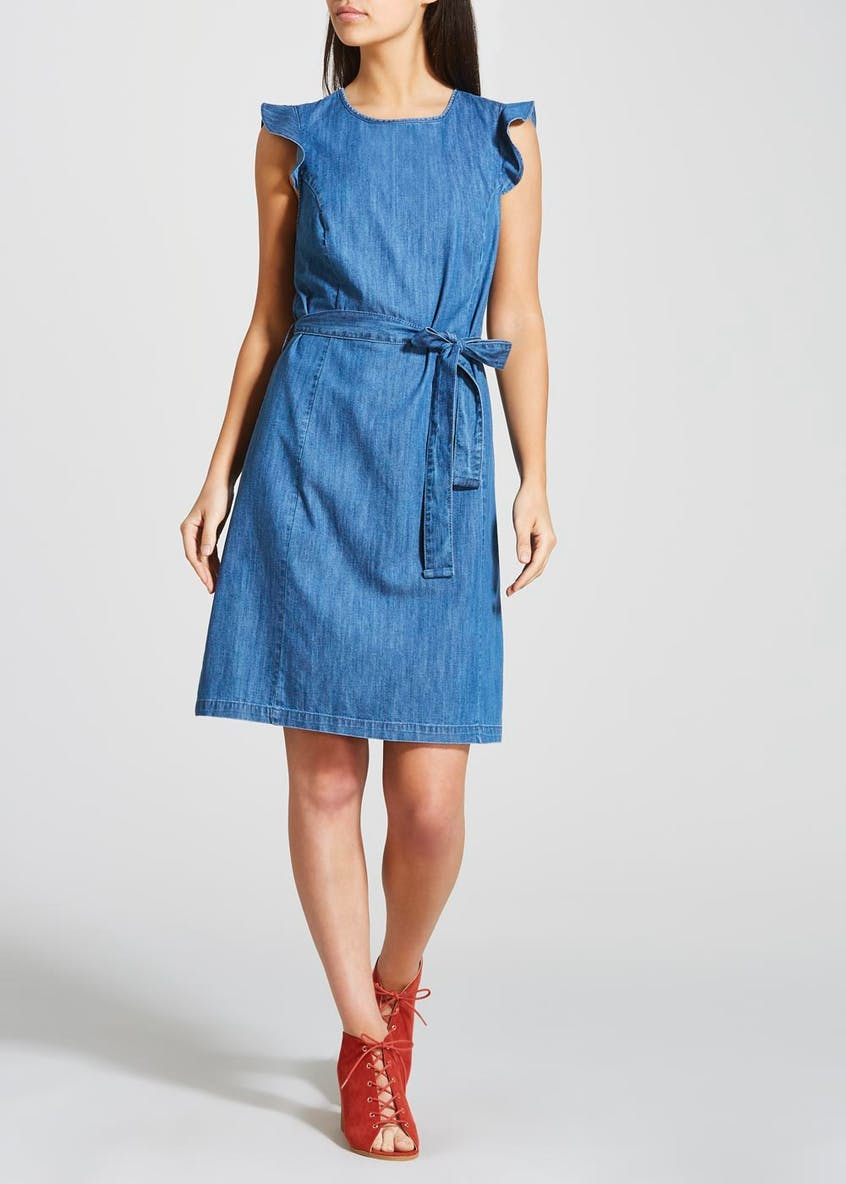 Frill Belted Denim Dress