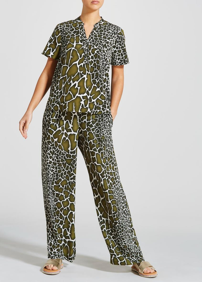 Giraffe Print Wide Leg Trousers