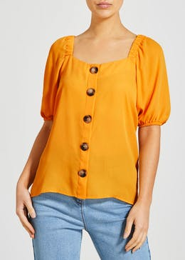 Button Front Square Neck Top