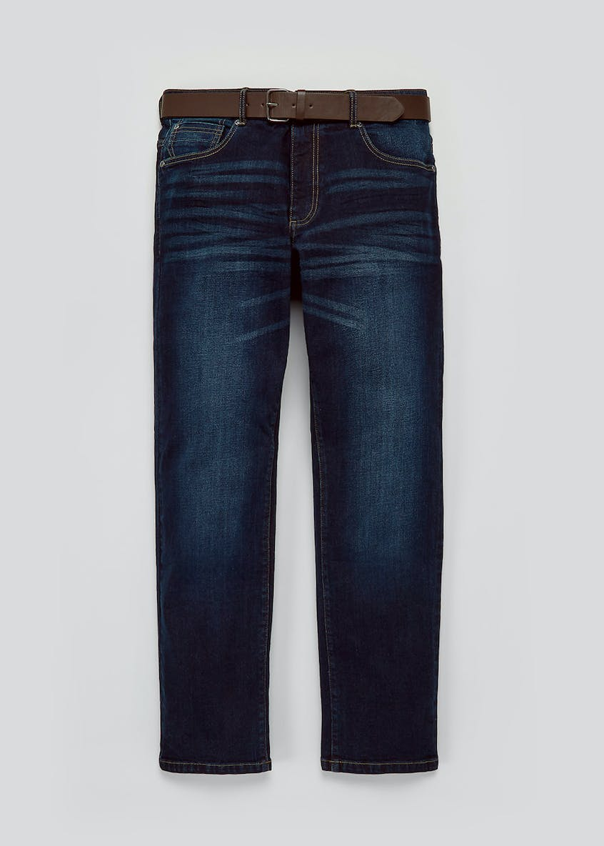 Big & Tall Belted Stretch Straight Fit Jeans