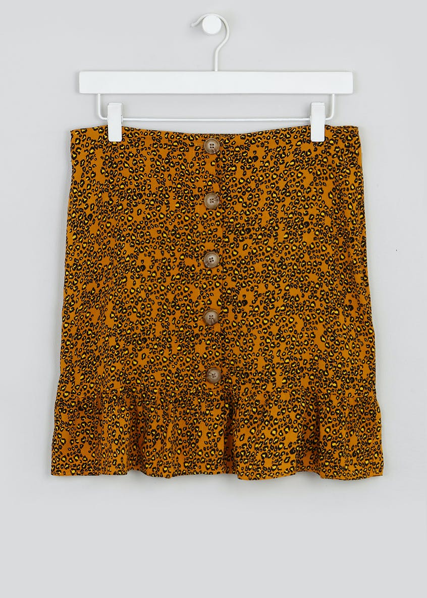 Floral Animal Print Button Front Mini Skirt