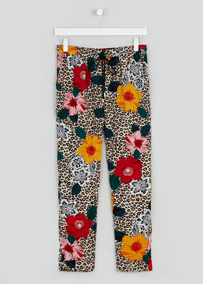 Papaya Petite Floral Leopard Print Co-Ord Trousers