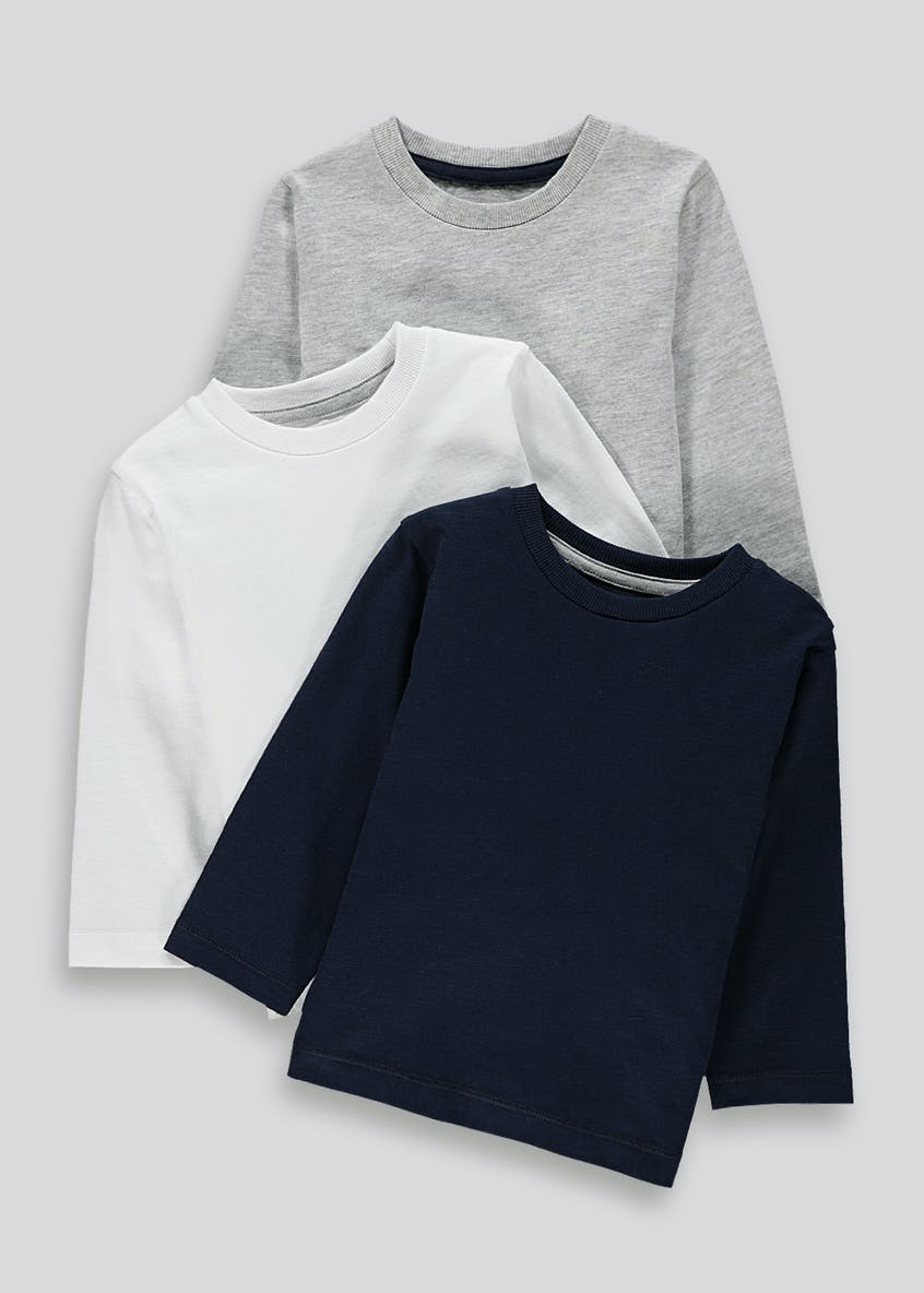 Boys 3 Pack Long Sleeve T-Shirts (9mths-6yrs)