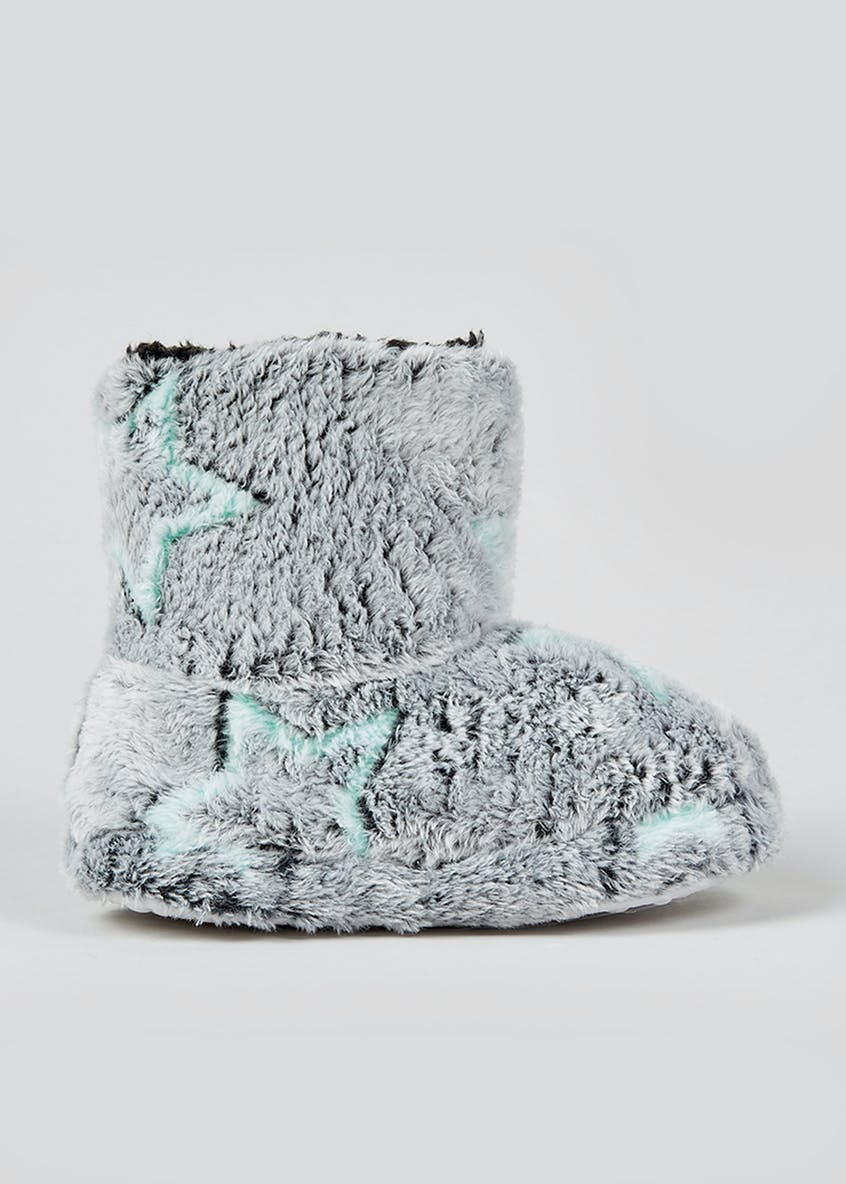 Kids Grey Fluffy Star Slipper Boots (Younger 4-12)