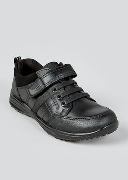 Boys Real Leather Elastic Lace Trainers (Younger 8-Older 6)