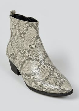 Wide Fit Beige Snake Print Chelsea Boots