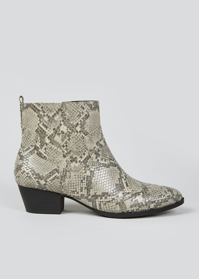 Wide Fit Faux Snake Skin Chelsea Boots