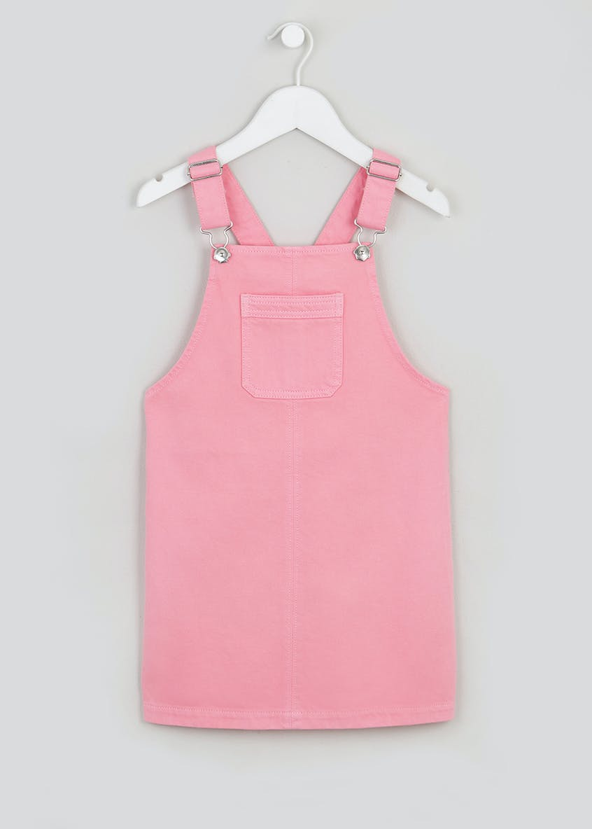 Girls Pink Denim Pinafore Dress (4-13yrs)