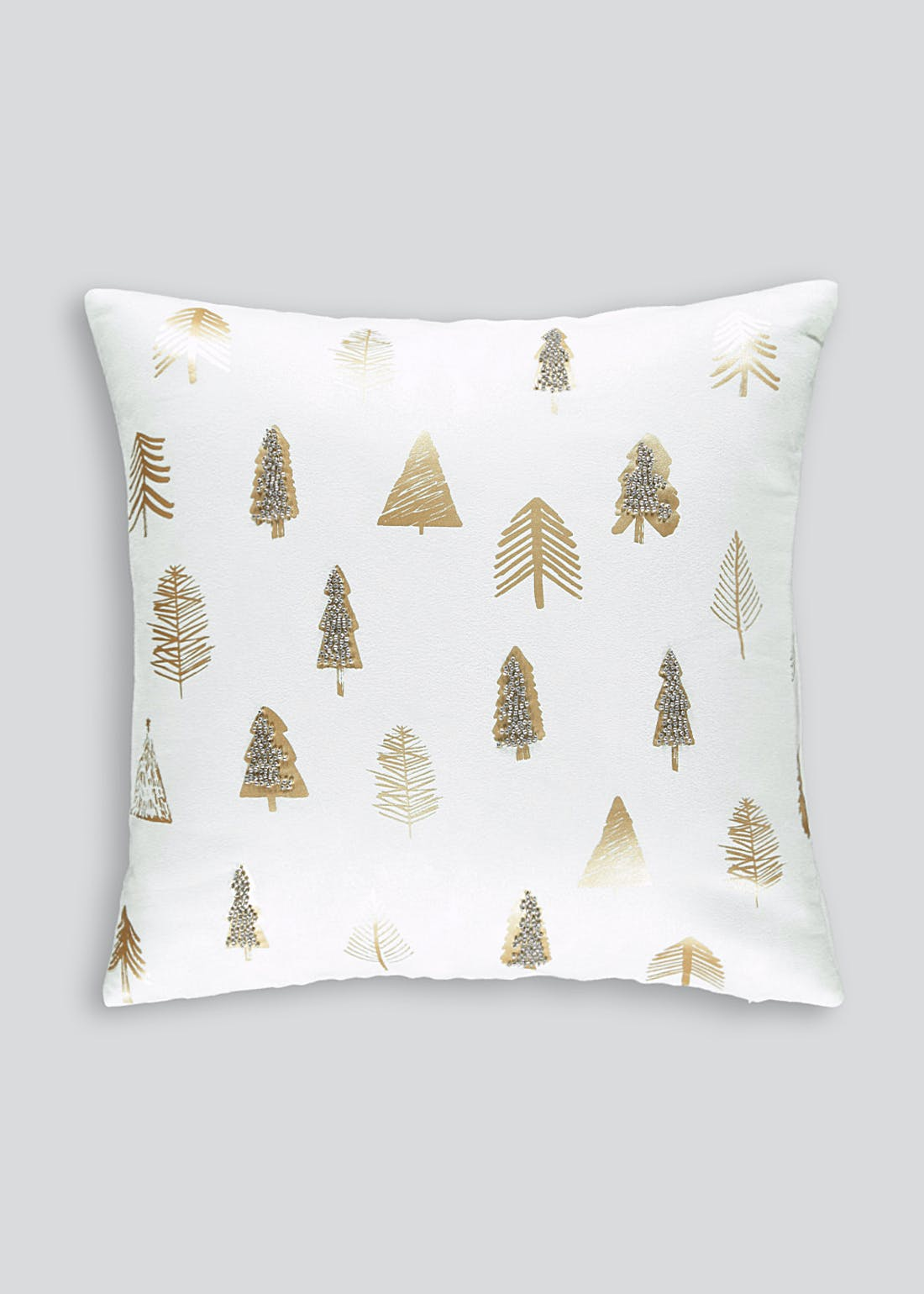 Foil & Beaded Tree Cushion (46cm x 46cm)