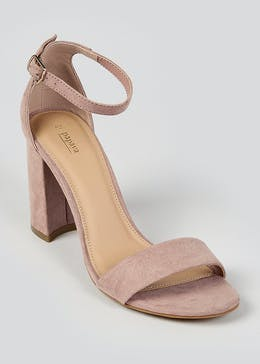Pink Strappy Block Heel Sandals