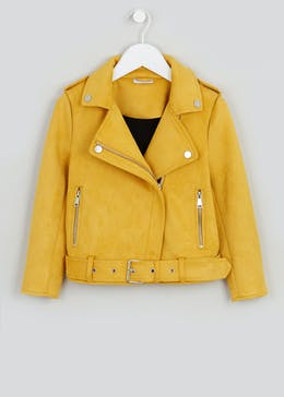 Girls Ochre Faux Suede Biker Jacket (4-13yrs)