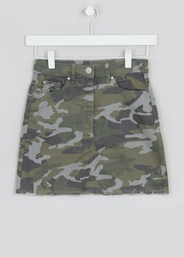 Girls Candy Couture Camo Denim Skirt (9-16yrs)