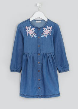 Girls Floral Embroidered Denim Dress (4-13yrs)