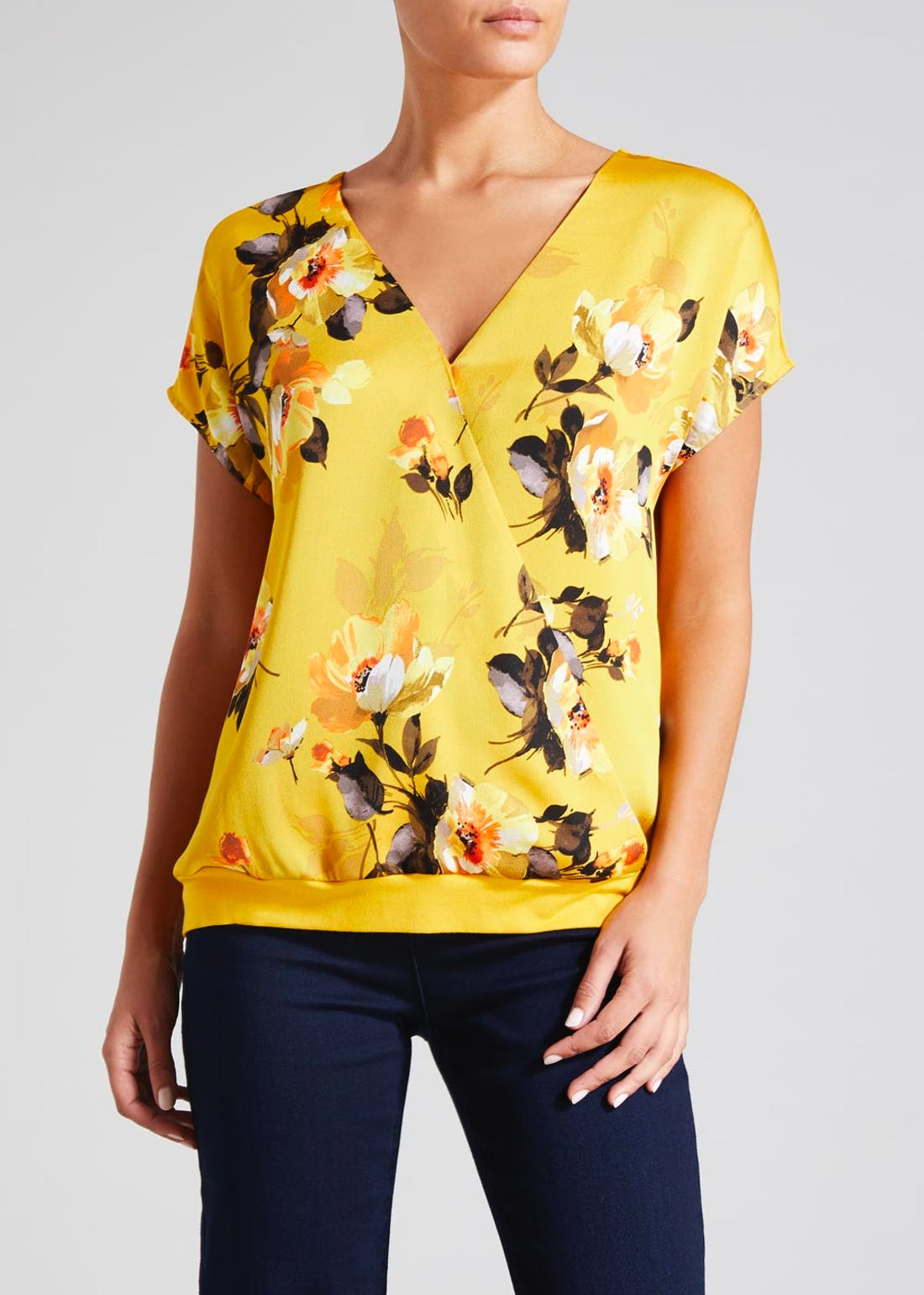 Soon Floral Wrap Front Top