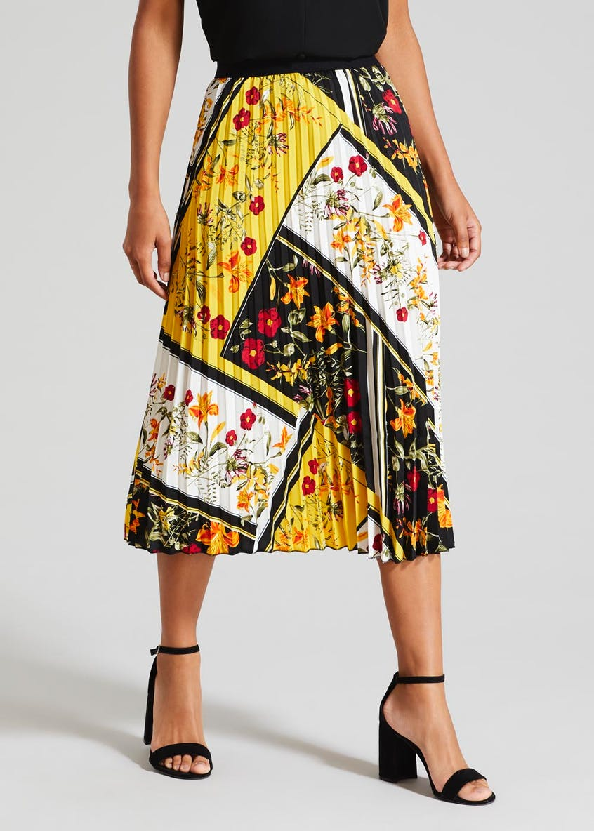 Soon Tile Print Pleated Midi Skirt