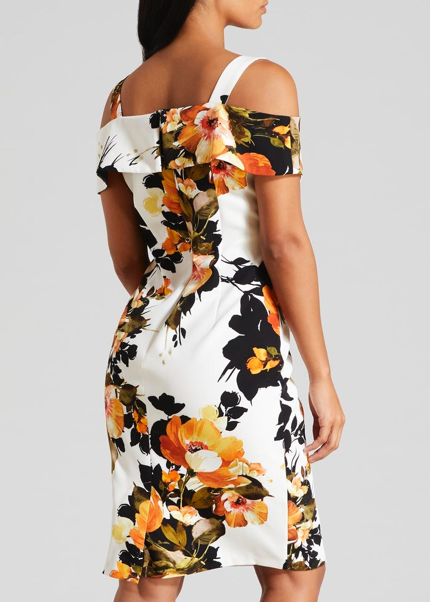 Soon Floral Cold Shoulder Scuba Midi Dress