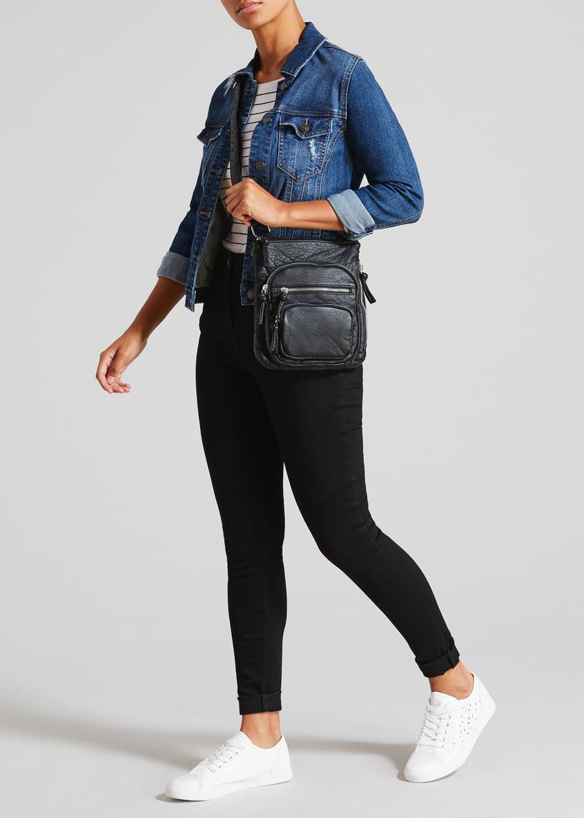 Washed PU Double Zip Front Cross-Body Bag