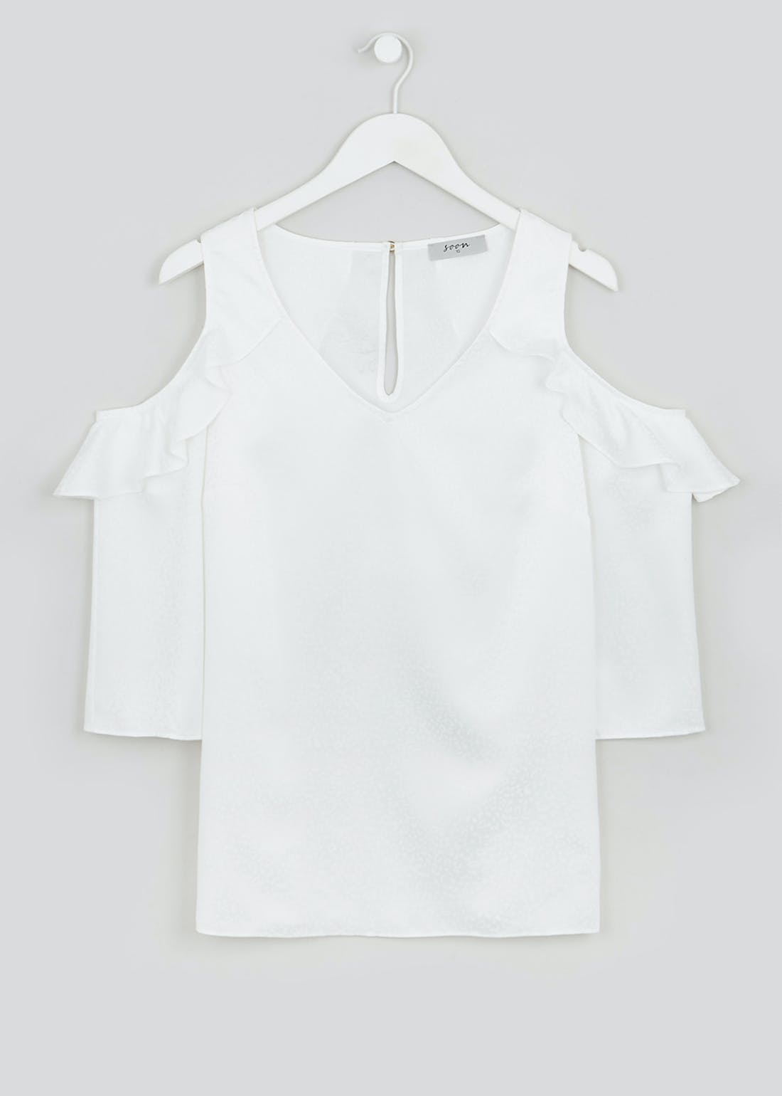 Soon White 3/4 Sleeve Cold Shoulder Blouse