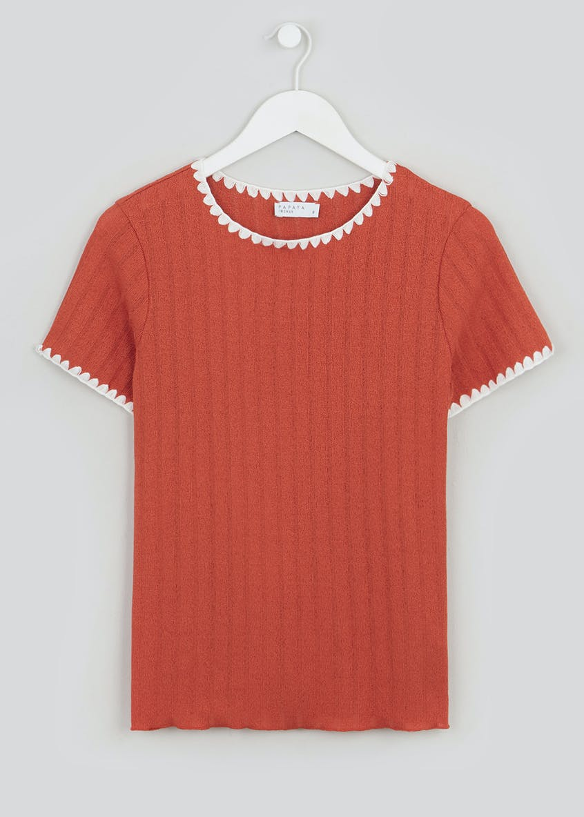 Ribbed Blanket Stitch T-Shirt