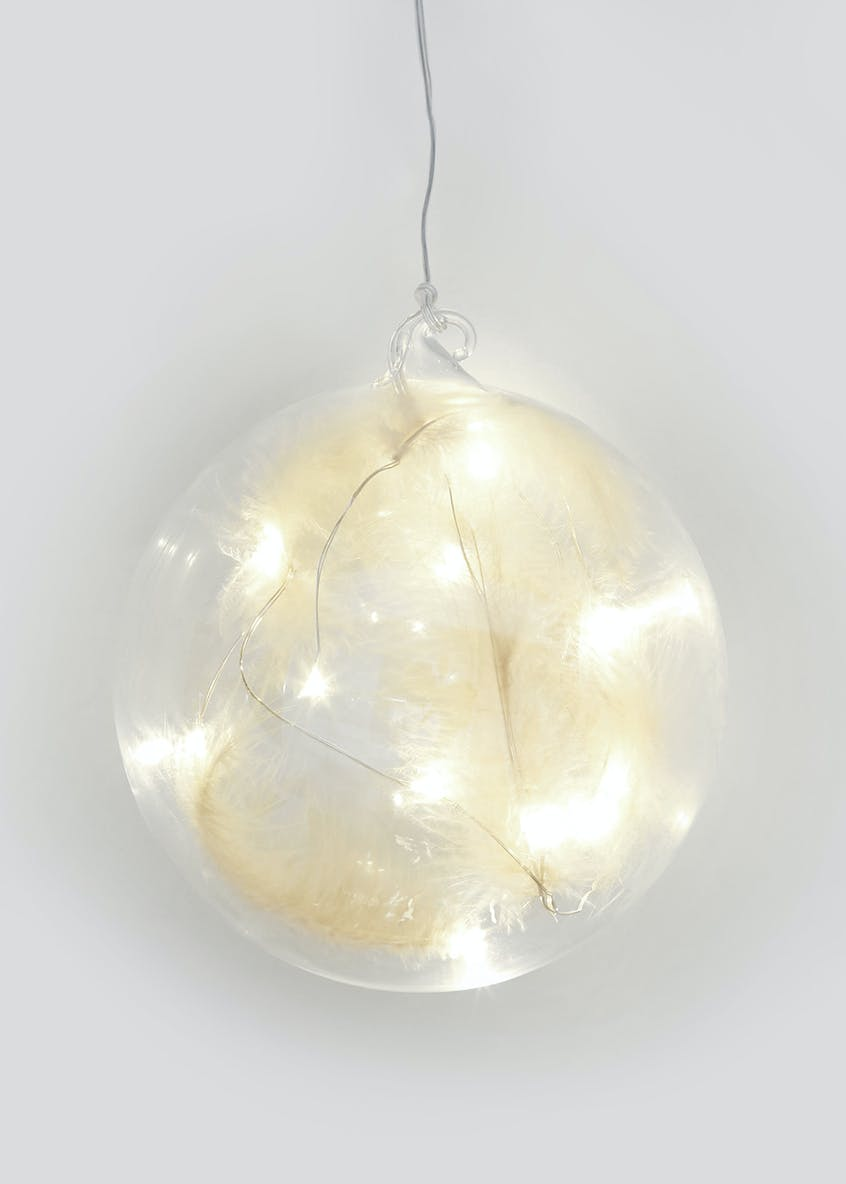 LED Hanging Feather Globe (15cm x 15cm)