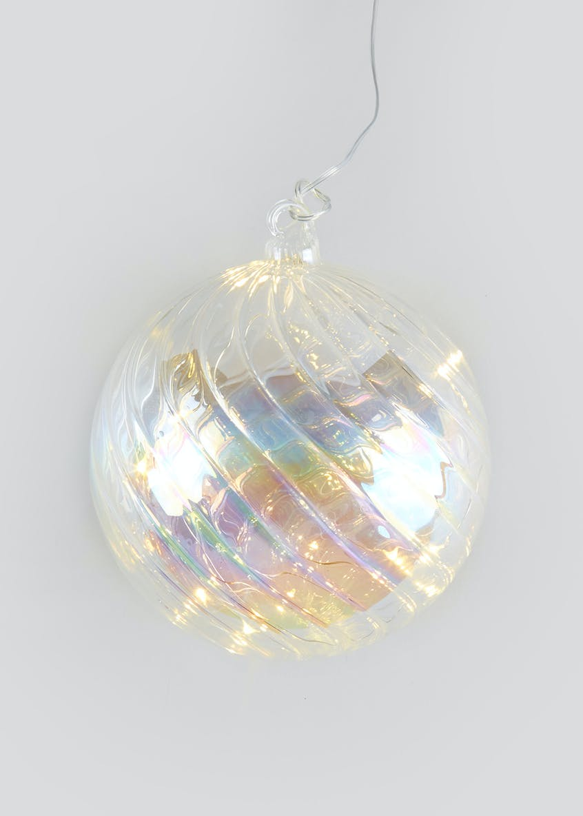 LED Hanging Iridescent Glass Bauble (15cm x 15cm)
