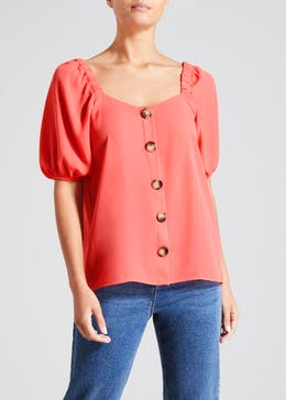 Square Neck Button Front Top