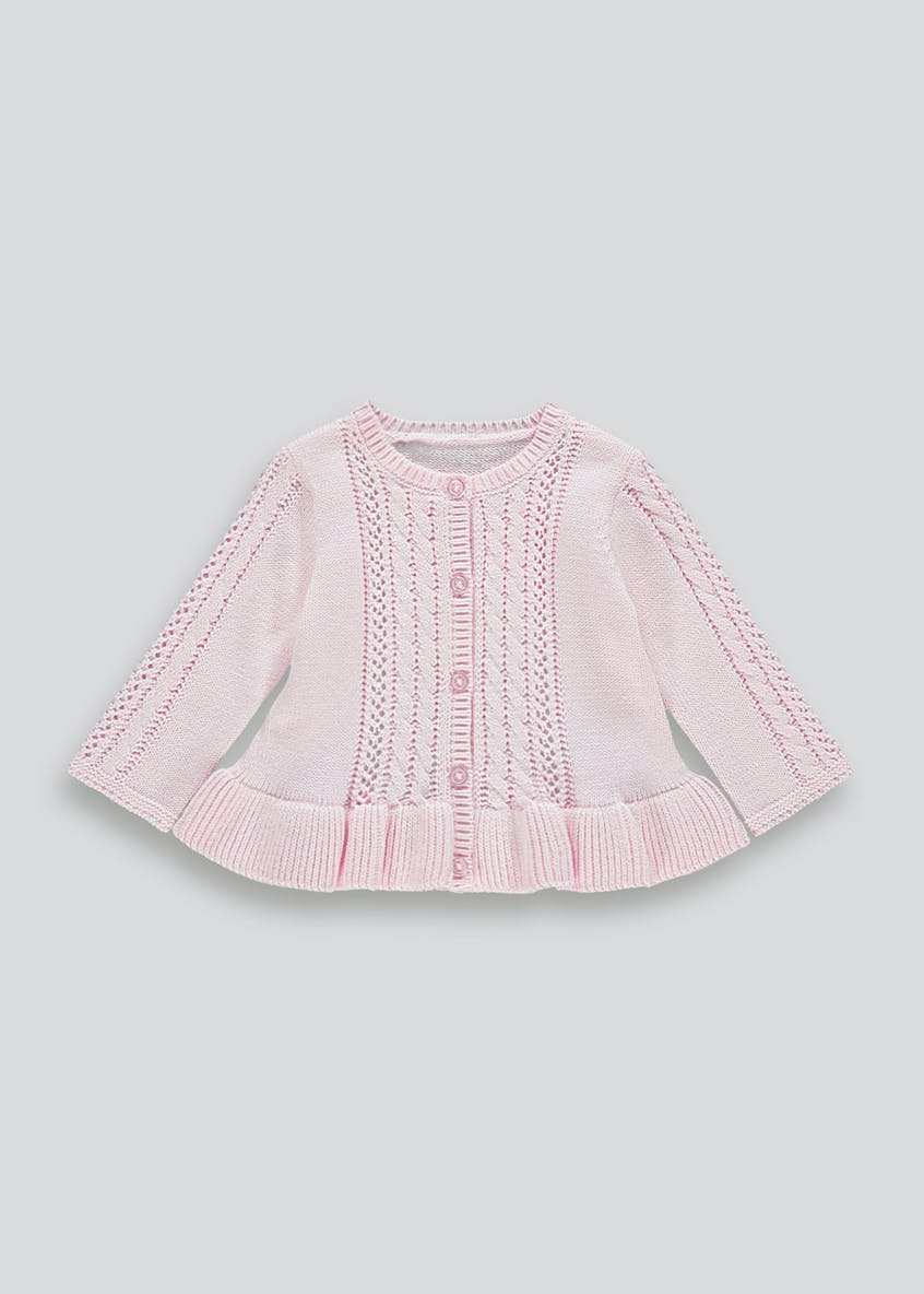 Girls Fluted Hem Cardigan (Tiny Baby-18mths)