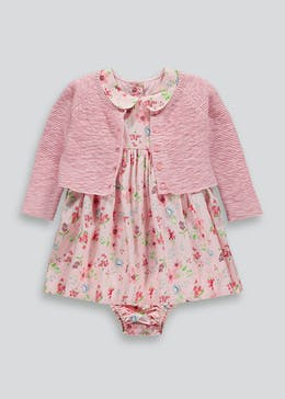 Girls Floral Dress Knickers & Cardigan Set (Newborn-18mths)