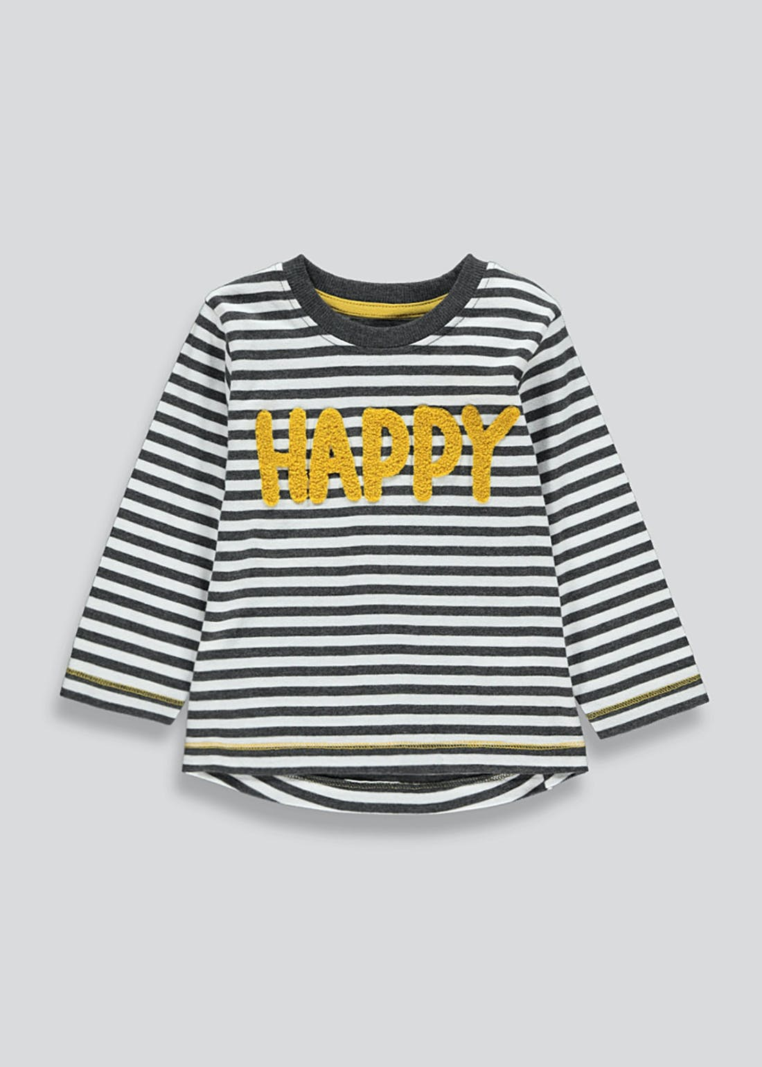 Boys Happy Slogan Stripe T-Shirt (9mths-6yrs)