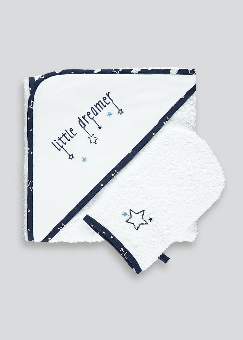 Hooded Towel & Wash Mitt (One Size)