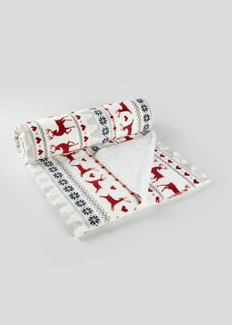 Fairisle Christmas Sherpa Throw (180cm x 150cm)