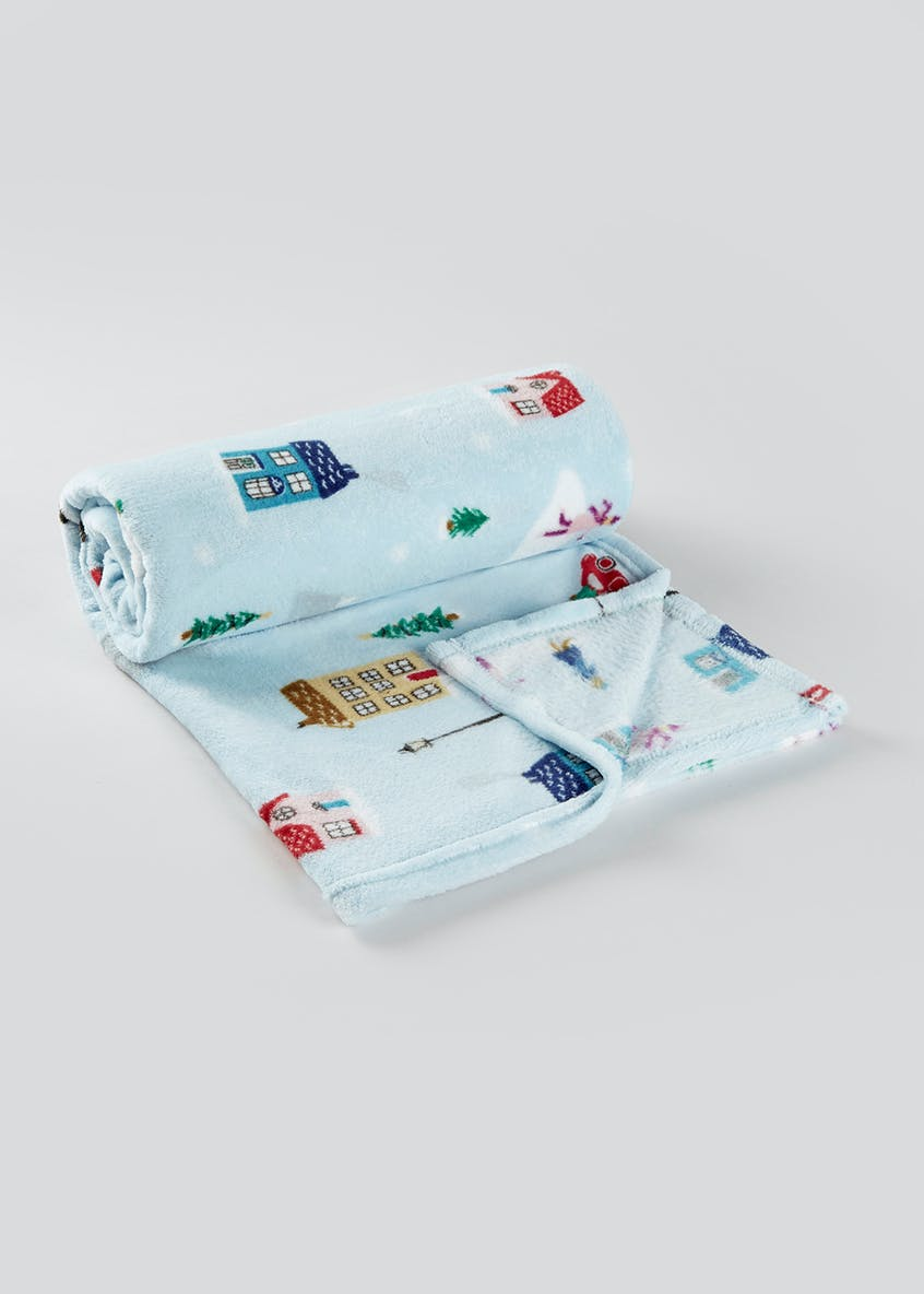 Ski Christmas Fleece Throw Blanket (150cm x 130cm)