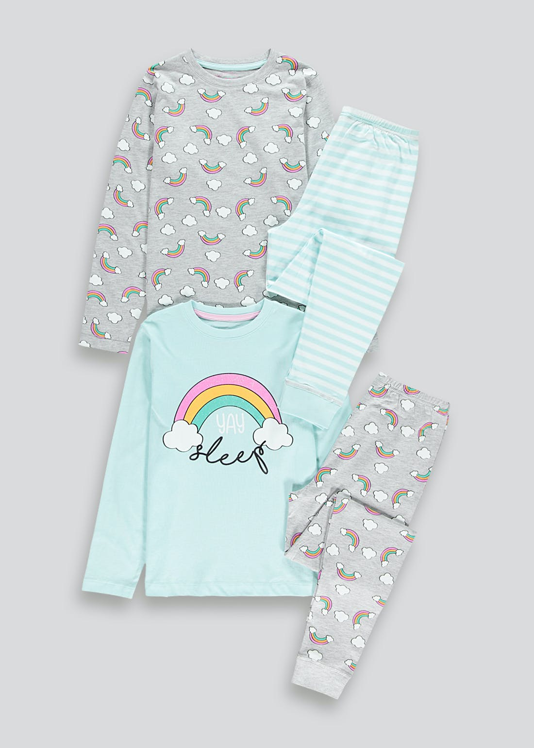 Girls 2 Pack Rainbow Pyjamas (4-13yrs)