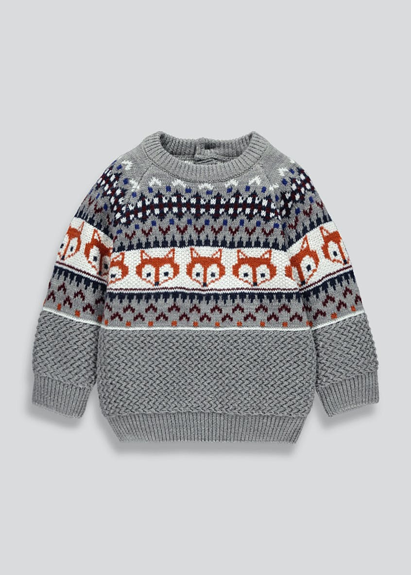 Kids Fair Isle Fox Knitted Jumper (9mths-6yrs)