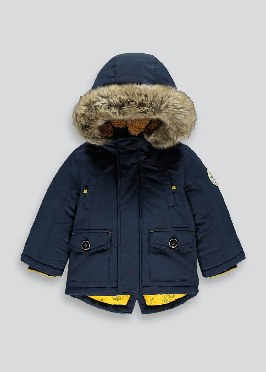 Boys Navy Shower Resistant Parka Coat (9mths-6yrs)